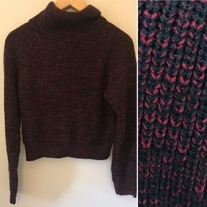 Shein Black and Red Cropped Turtleneck Sweater